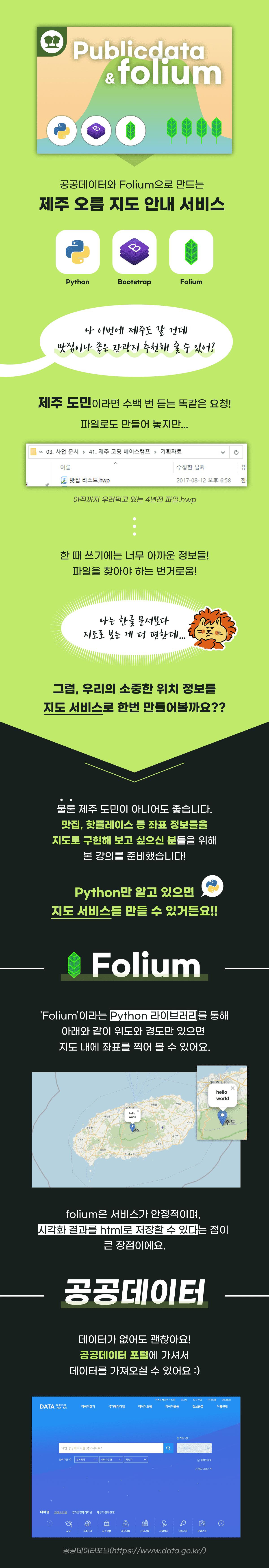 파이썬(Python), 폴리움(Folium), 판다스(Pandas), 부트스트랩(Bootstrap), 깃헙(Github), 구글 코랩(Google Colab)