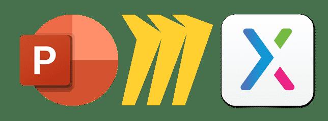 왼쪽부터 마이크로소프트 파워포인트, 미로, 액슈어 로고
