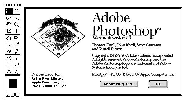 어도비 포토샵(Adobe Photoshop) 1.0 버전 ©Unicode