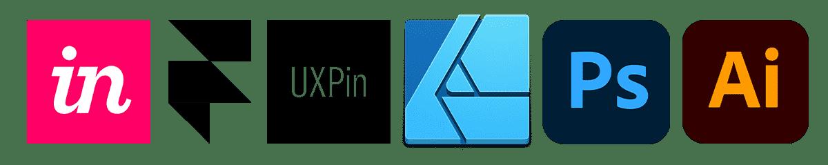 왼쪽부터 인비전, 프레이머, UXPin, 어피니티 디자이너, 포토샵, 일러스트레이터 로고