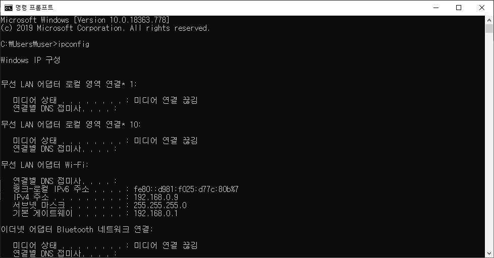 명령 프롬프트에서 [ipconfig]로 내 IP를 확인한 화면 캡처 이미지