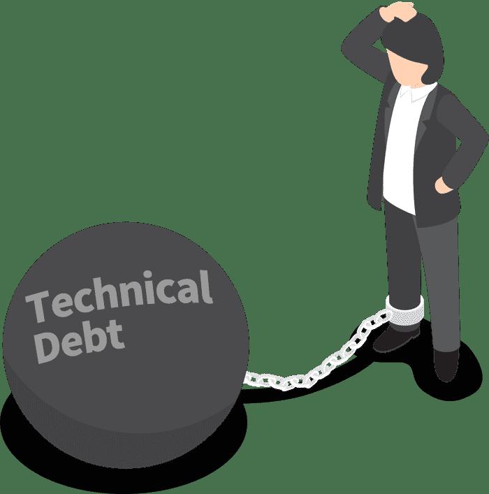 'Technical Debt(기술 부채)'라고 쓰인 족쇄에 발이 묶인 사람