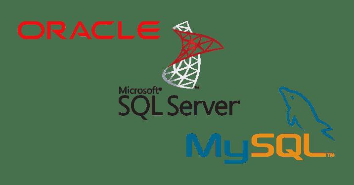 오라클(Oracle), Microsoft SQL Server, MySQL 로고 이미지